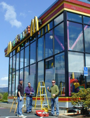 Storefront Glass Replacement on McDonalds Restaurant just off Walker Road in Beaverton.